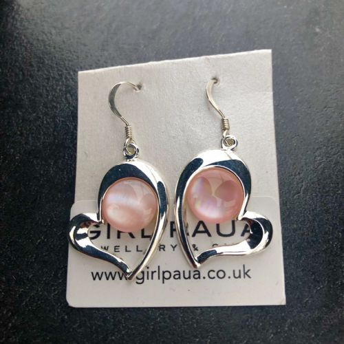 Paua Pink Earrings - Large Heart PE17-LH